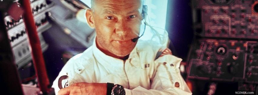 Photo buzz aldrin in space Facebook Cover for Free