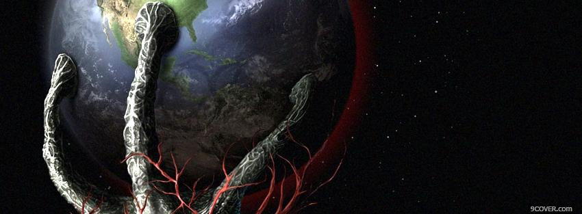Photo alien holding earth space Facebook Cover for Free