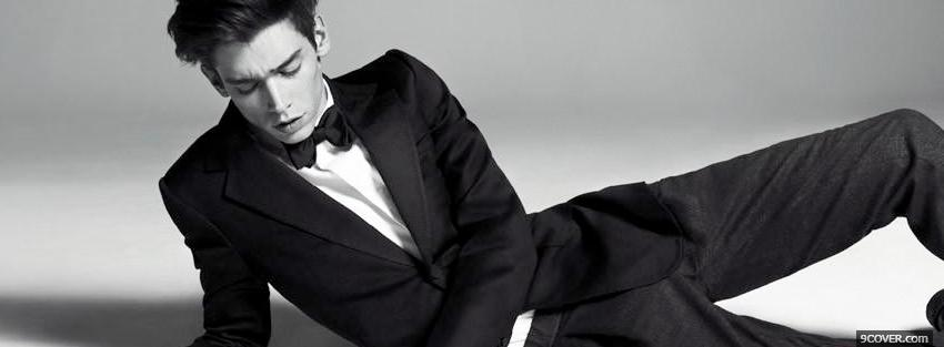 Photo black suit sexy men Facebook Cover for Free