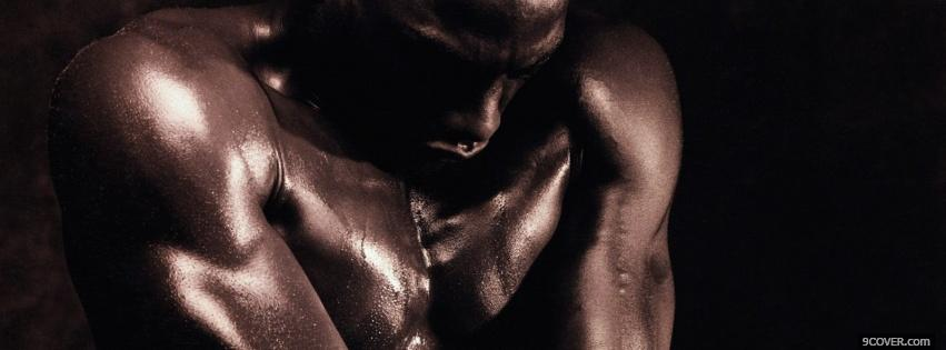 Photo shining muscles sexy men Facebook Cover for Free