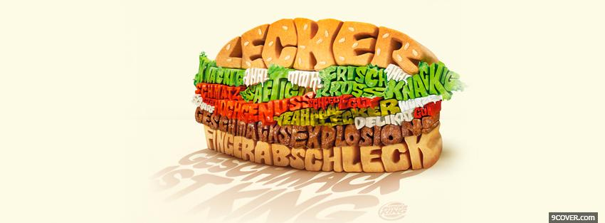 Photo yummy juicy burger typography Facebook Cover for Free