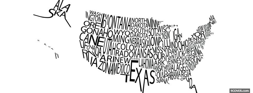 Photo american map typography Facebook Cover for Free