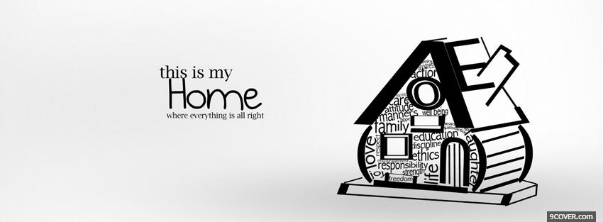Photo cute home typography Facebook Cover for Free