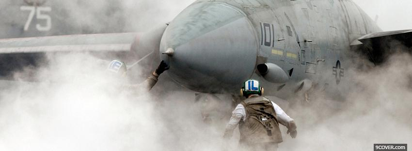 Photo military aircraft smoke war Facebook Cover for Free