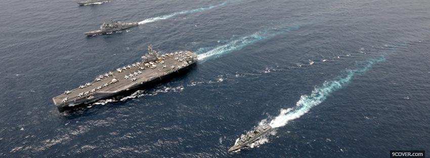Photo sea aircraft carrier war Facebook Cover for Free