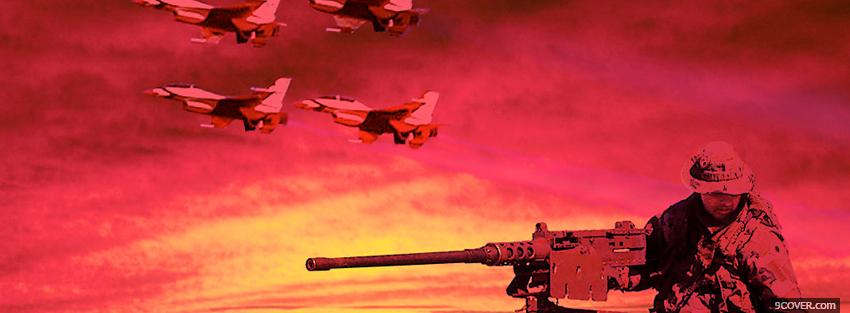 Photo pink yellow military war Facebook Cover for Free