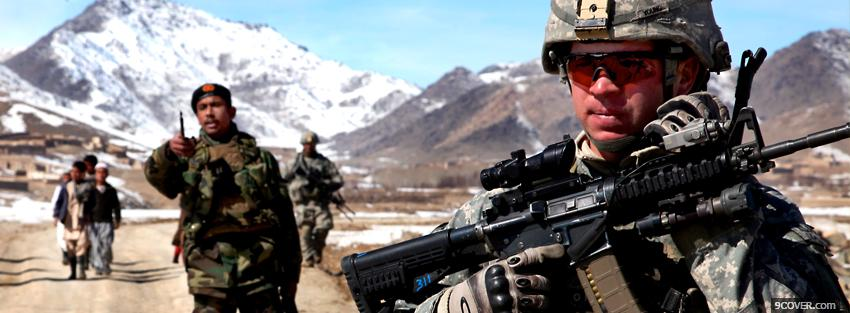 Photo mountains military soldiers war Facebook Cover for Free