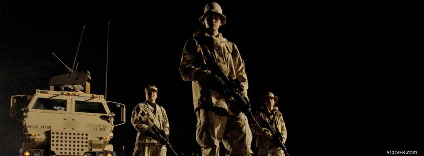 Photo military soldiers night war Facebook Cover for Free