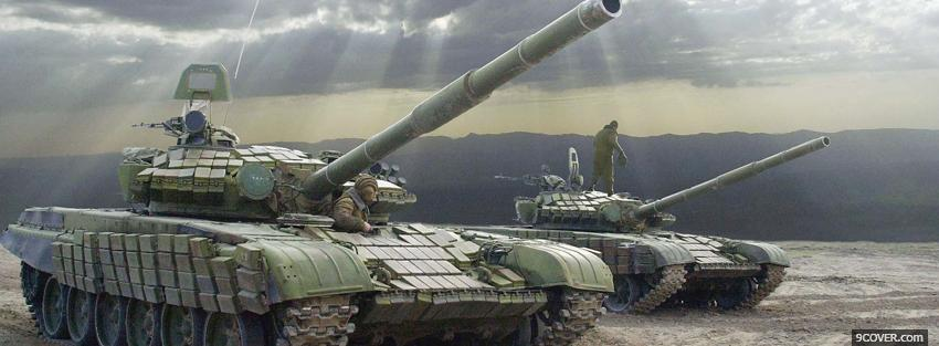 Photo two military tanks war Facebook Cover for Free