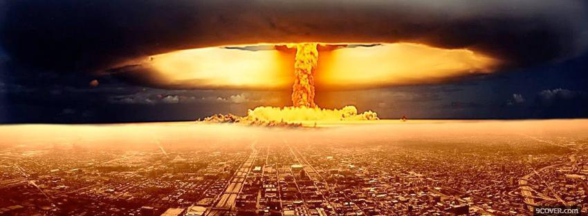 Photo nuclear explosion war Facebook Cover for Free
