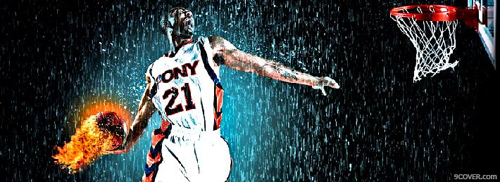 Photo Basketball Fire Facebook Cover for Free
