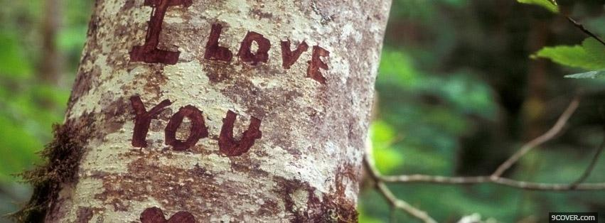 Photo Love Carved Into A Tree Facebook Cover for Free