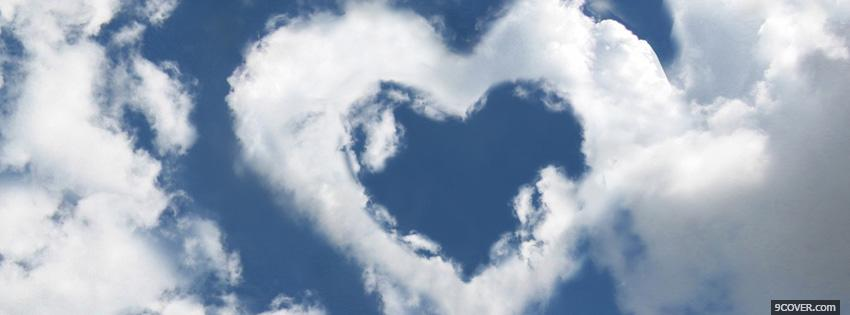 Photo Heart In Clouds Facebook Cover for Free
