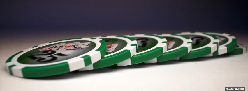 Photo Green Poker Chips  Facebook Cover for Free