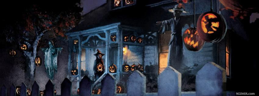 Photo Halloween House Facebook Cover for Free