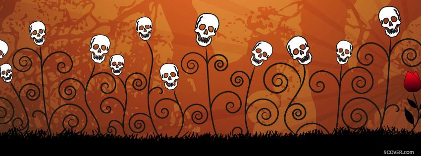 Photo Halloween Skull Flowers Facebook Cover for Free