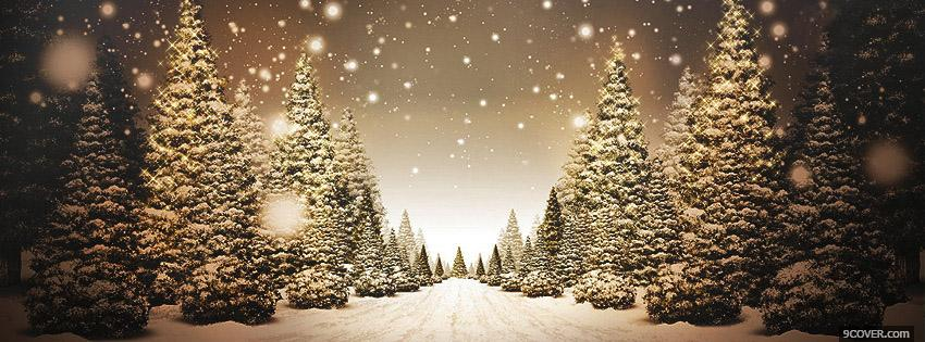 Photo Beautiful Christmas Road Facebook Cover for Free