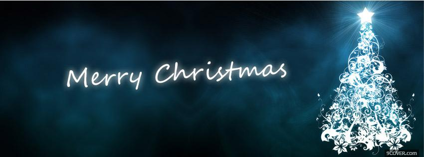 Photo Merry Christmas Blue Tree Facebook Cover for Free