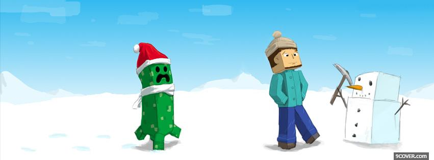 Minecraft Christmas Photo Facebook Cover