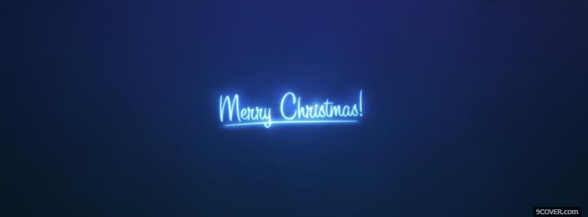 Photo Blue Merry Christmas Facebook Cover for Free
