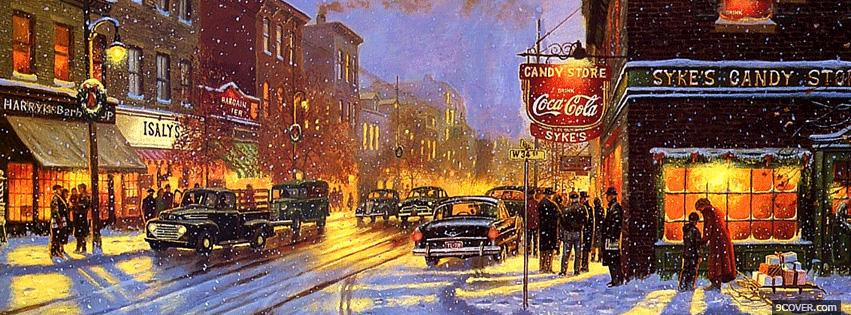 Photo Christmas City Facebook Cover for Free