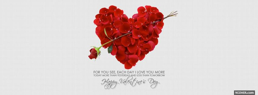 Photo Heart Made Of Red Flowers Facebook Cover for Free