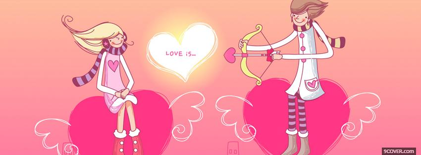 Photo Cupid Couple In Love Facebook Cover for Free