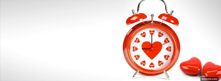 Photo Love Clock And Small Hearts  Facebook Cover for Free