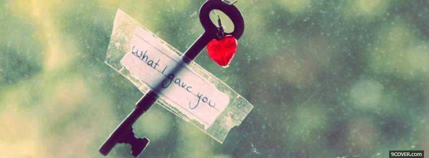 Photo Love Key Valentine Facebook Cover for Free