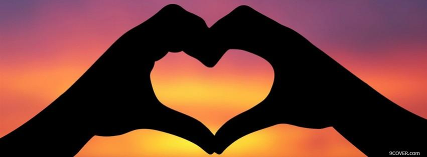Photo Sunset Hands Hearts Valentine  Facebook Cover for Free