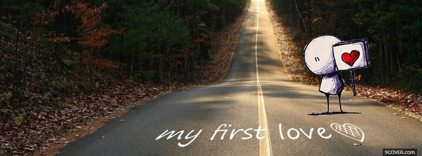 Photo My First Love And Kiss  Facebook Cover for Free