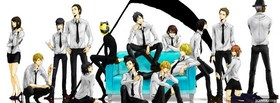 free durarara crew in white shirts facebook cover