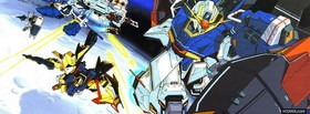 anime gundam robots in space facebook cover