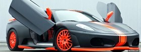 orange in black ferrari car facebook cover