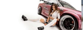 pretty girl whit racing car facebook cover
