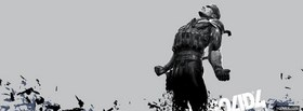black and white metal gear solid 4 facebook cover