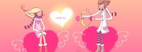 free cupid couple in love facebook cover