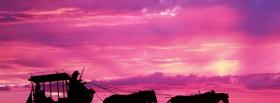 nature sky and horses with carriage facebook cover
