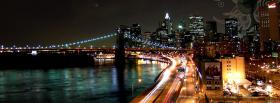 city lights and brigde at night facebook cover
