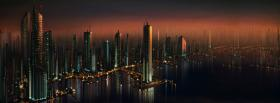 city the future buildings at night facebook cover
