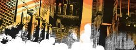 free city drawing of buildings facebook cover