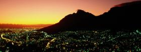 free city and mountain sunset facebook cover