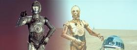 free star wars robot silver and gold facebook cover