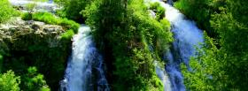 free greens and waterfall nature facebook cover
