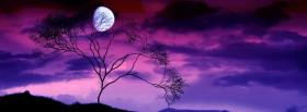 free moon and purple sky nature facebook cover