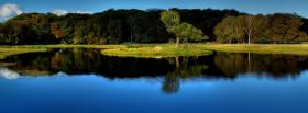 free blue lake reflection nature facebook cover