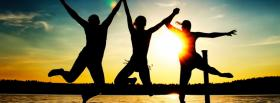 free sunset jumping nature facebook cover