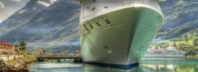 free white boat mountains nature facebook cover