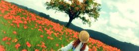 free red flowers and tree facebook cover