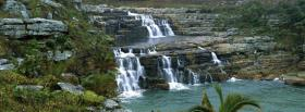 free rocky waterfalls nature facebook cover